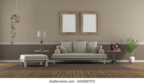 Elegant living room with sofa , footstool and coffee table - 3d rendering