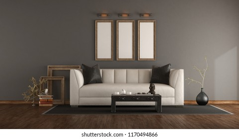 Elegant living room with white sofa,leather coffee table and decor objects - 3d rendering