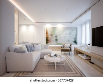 Elegant and luxurious light open living and dining room with white walls, bright stone floors and large white glossy wardrobe. 3d render.
