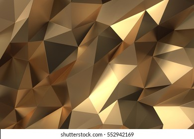 Elegant luxury Abstract golden or gold Low-poly Background. 3D Rendering