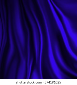 elegant luxury blue background with wavy draped folds of cloth, smooth silk texture with wrinkles and creases in flowing fabric