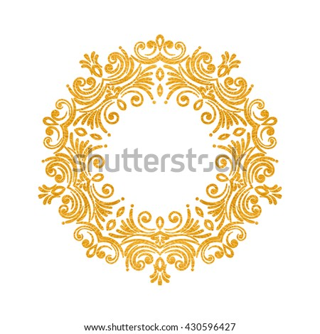 Elegant luxury vintage round gold floral frame on white background. Refined  hand drawn border template 0368a1216a