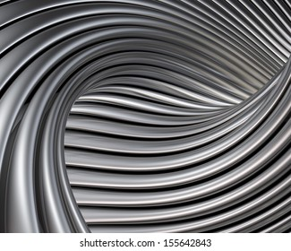Elegant metallic curves background. Luxury brushed metal shapes reflections