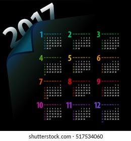 elegant minimalistic 2017 calendar design on dark background - week starts with sunday