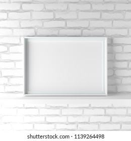 Elegant and minimalistic landscape picture frame standing on white painted brick wall. Design element. 3D render