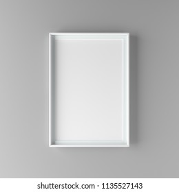 Elegant and minimalistic picture frame standing on gray wall. Design element. 3D render
