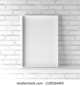 Elegant and minimalistic portrait picture frame standing on white painted brick wall. Design element. 3D render