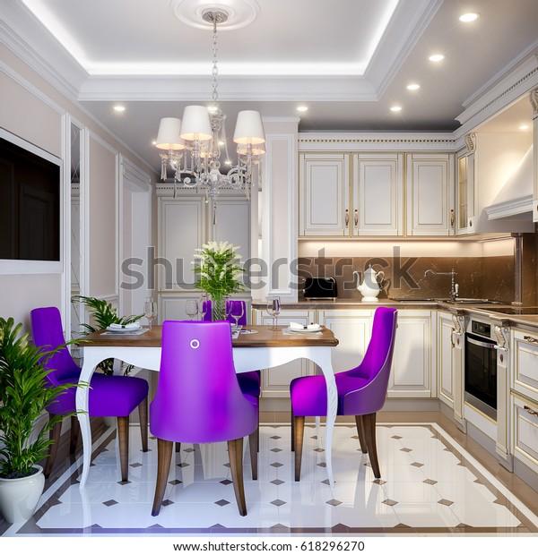 Elegant Modern Classic Kitchen Interior Design Stock