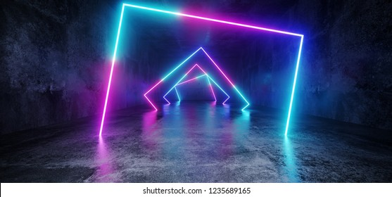 Elegant Modern Futuristic Sci Fi Grunge Concrete Reflective Long Empty Tunnel Corridor With Neon Glowing Rectangle Shapes Purple Blue Pink Red Background 3D Rendering Illustration