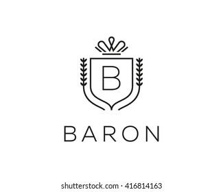 Elegant monogram letter B logotype. Premium crest logo design. Shield, royal crown symbol. Print, t-shirt design shape.