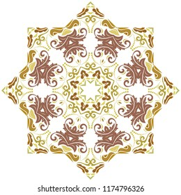 Elegant ornament in classic style. Abstract traditional pattern with oriental elements. Classic colored round vintage pattern