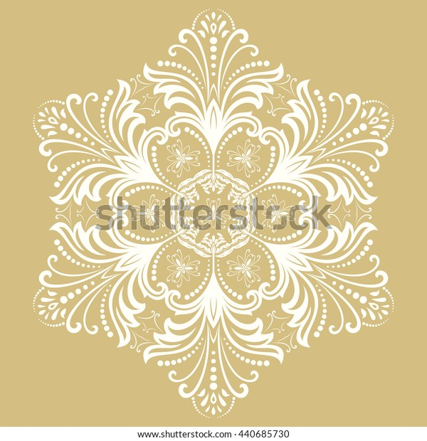Elegant ornament in the style of barogue. Abstract white pattern with oriental elements