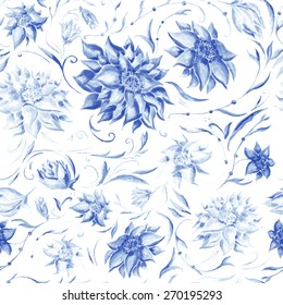 Elegant Pattern with Indigo Flowers   Watercolor floral seamless texture with blue peonies, leafs and petals for wallpaper and textile design