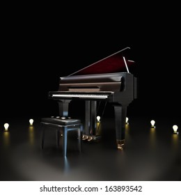 Elegant piano center stage with lighting accents on a black background. Room for text or copy space .Piano concert music concept.