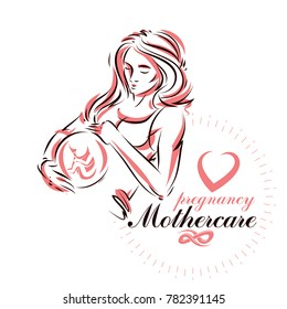Elegant pregnant woman body silhouette drawing. illustration of mother-to-be fondles her belly. Prenatal center and motherhood preparing clinic promotion flyer