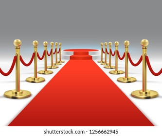 Elegant red carpet with round podium. Celebrity lifestyle, prestige and glamour background