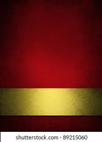 elegant red and gold Christmas background with vintage grunge texture and vignette border with copy space for text or ad