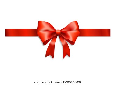 Elegant red ribbon and bow on white background