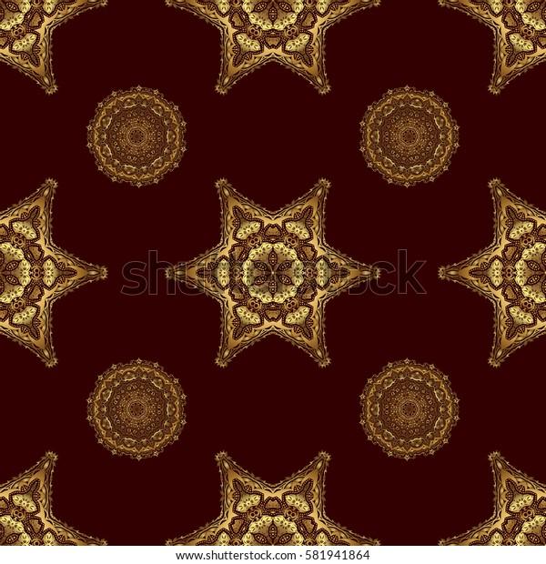 Elegant retro seamless pattern. Golden pattern on a brown background. Vintage sketch.