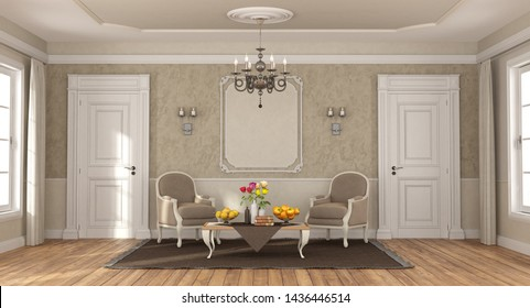 Elegant room with classic armchairs , coffee table and two closed doors - 3d rendering
