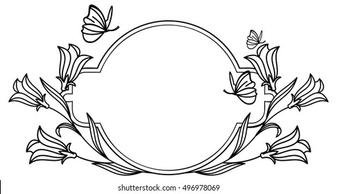 Elegant round frame with bluebells and butterfly. Raster clip art.