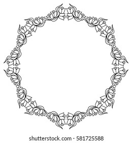 Elegant round frame with contours of flowers. Copy space. Raster clip art.