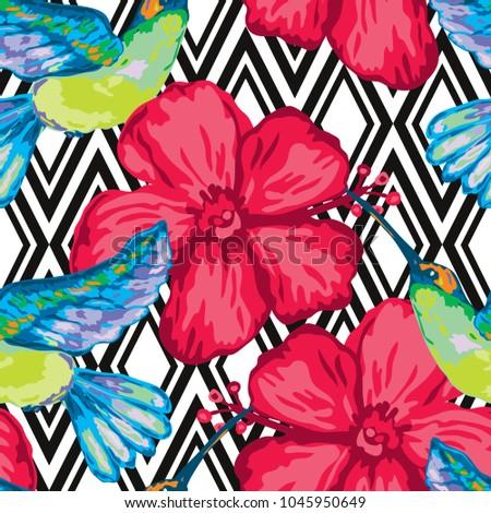 Elegant Seamless Pattern Colibri Hibiscus Design Stock Illustration