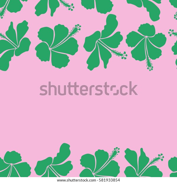 Elegant seamless pattern with decorative green on pink hibiscus flowers and copy space. Horizontal floral pattern for wedding or greeting cards, flyer, prints, wrapping, textile, manufacturing fabric.