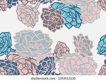 Elegant seamless pattern with echeveria plants, design elements. Floral  pattern for invitations, cards, print, gift wrap, manufacturing, textile, fabric, wallpapers. Succulents