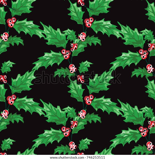 Elegant seamless pattern with hand drawn decorative fir tree branches, design elements. Can be used for winter holiday invitations, greeting cards, print, gift wrap, manufacturing