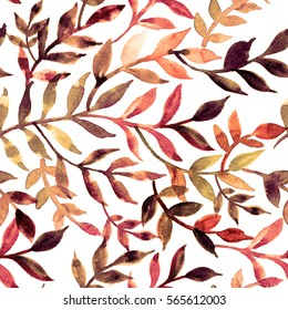 Elegant seamless pattern leaves and branch. Watercolor texture twigs for the jar tube box. Botanical print for packing, scrapbooking, wrapping paper textile, home decor, skin smartphone surface design