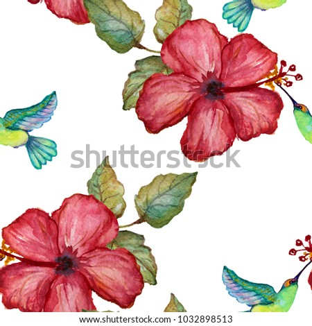 Colibri Hibiscus elegant seamless pattern watercolor colibri hibiscus stock