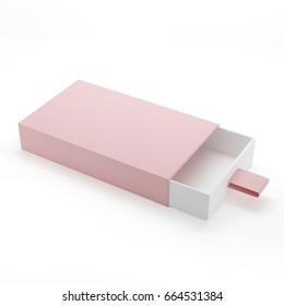 Elegant Sliding Box Mock-Up Template On Isolated White Background, 3D Illustration