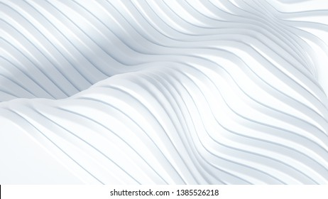 Elegant smooth wave lines background. 3d illustration, 3d rendering.