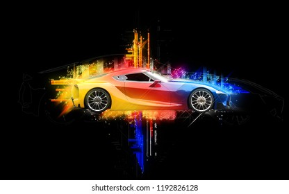 Elegant super sports car - abstract colorful illustration - 3D Illustration