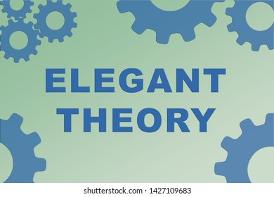 ELEGANT THEORY sign concept illustration with blue gear wheel figures on pale green gradient