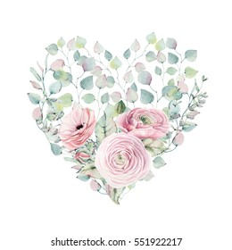 Elegant Valentines day heart of watercolor flowers isolated on white background.It can be used for wedding cards and invitations, mothers day and birthday card. It's perfect for valentines card.