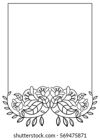 Elegant vertical frame with contours of flowers. Copy space. Raster clip art.