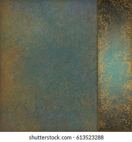 elegant vintage background layout with marbled teal blue green color with gold patina flecks and fancy sidebar panel on border with blank copyspace