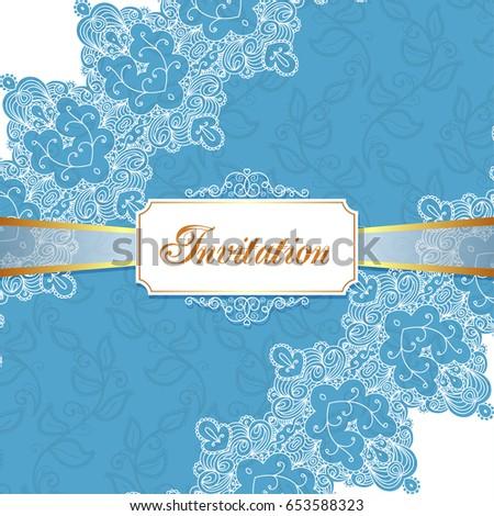 Elegant Vintage Wedding Or Birthday Invitation Template With Lace Corners Illustration