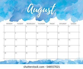 Elegant watercolor bright print ready calendar. August month blue calendar or planner with space for notes.
