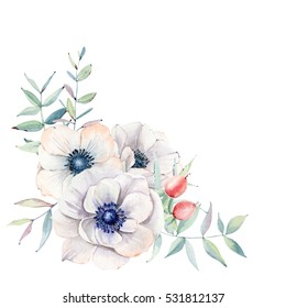 Elegant watercolor flower composition. It is perfect for  wedding and birthday card,  invitation,  valentines card.