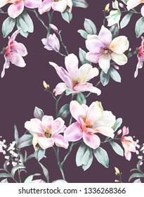 Elegant watercolor hand painted Magnolia