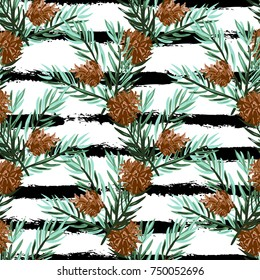 Elegant winter seamless pattern with hand drawn fir tree branches and cons, design elements. Can be used for holiday invitations, greeting cards, print, gift wrap, manufacturing. Watercolor style