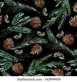 Elegant winter seamless pattern with holly berries, cons and fir tree branches,design elements.Can be used for winter holiday invitations, greeting cards, scrapbooking, print, gift wrap, manufacturing