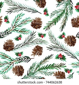 Elegant winter seamless pattern with holly berries,cons and fir tree branches, design elements.Can be used for winter holiday invitations, greeting cards, scrapbooking, print, gift wrap, manufacturing