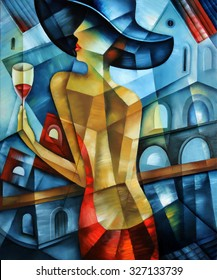 Elegant woman. Cubism illustration.