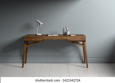Elegant wooden retro styled working desk - 3D Rendering