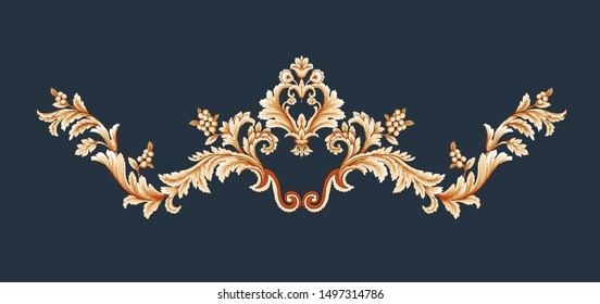 Elegantly decorated luxury design.  The golden element of Baroque style, the retro pattern of rococo style.  Gold border shading pattern.
