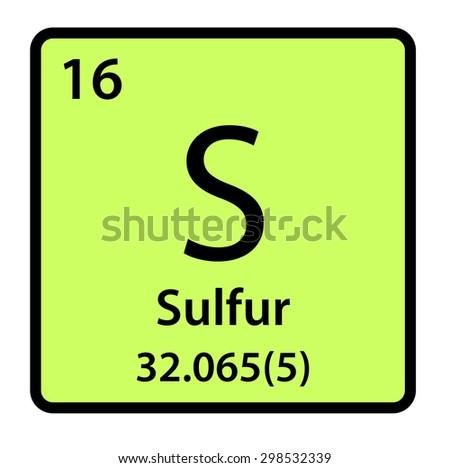 Element Sulfur Periodic Table Stock Illustration 298532339